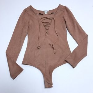 Glamorous Wilted Rose Lace Up Suede Body Suit Top